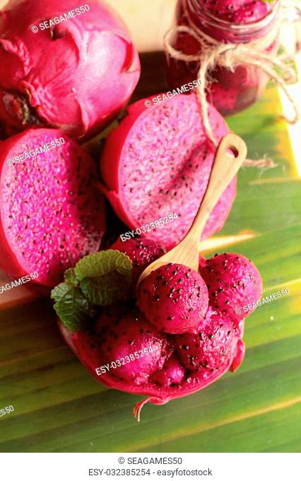 Fresh dragon fruit organic with smoothie tasty