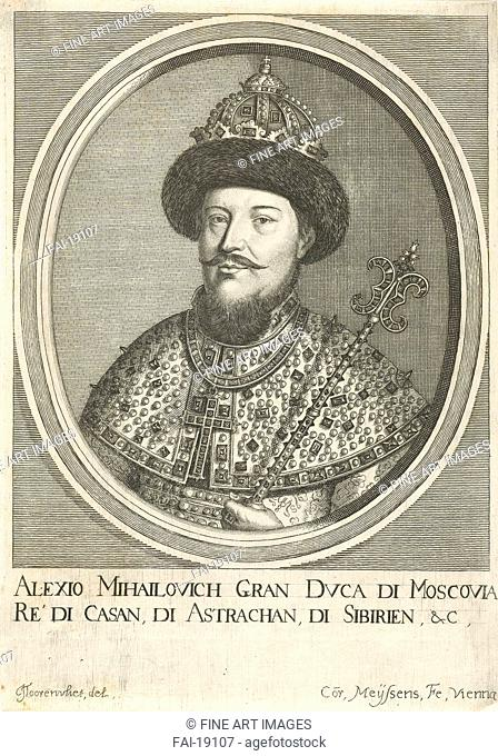 Portrait of the Tsar Alexis I Mikhailovich of Russia (1629-1676). Meyssens, Cornelis (c. 1640-after 1673). Etching. Baroque. 1670