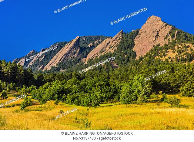 The Flatirons rock formations, Chautauqua Park, Boulder, Colorado USA