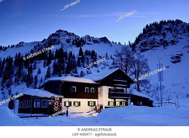 Bodenschneidhaus alpine hut, illuminated at night, in front of Bodenschneid, Bodenschneid, lake Schliersee, Bavarian Alps, Upper Bavaria, Bavaria, Germany