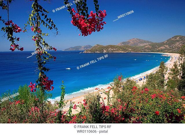 Turkey, Oludeniz, Beach, beach scene from White Dolphin