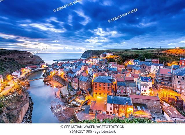 A view over the traditional fishing village of Staithes, North Yorkshire, England, United Kingdom, Europe