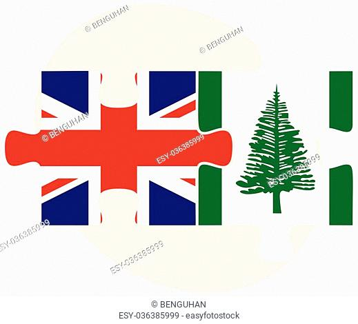 United Kingdom and Norfolk Island Flags in puzzle isolated on white background