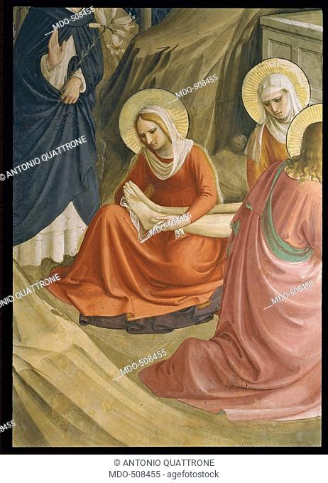 The Mourning over the Dead Christ, by Guido di Pietro (Piero) known as Beato Angelico, 1438 - 1446 about, 15th Century, curved fresco, cm 204 x 165