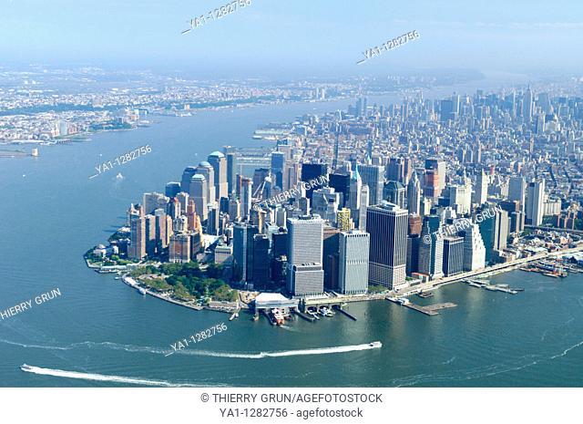 Aerial view of Lower Manhattan during an hot summer, New York city, USA