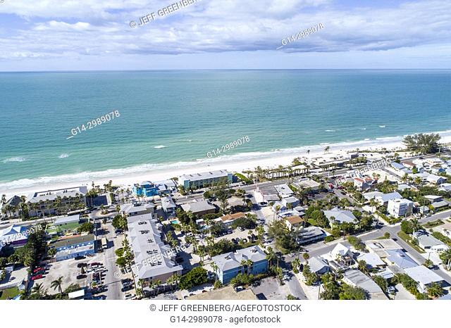 Florida, Bradenton Beach, Gulf of Mexico, aerial overhead view above bird's eye