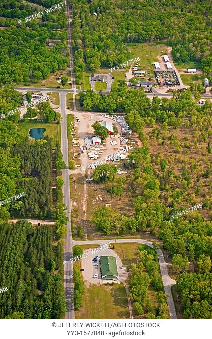 Aerial view of the village of Wellston, surrounded by the Huron-Manistee National Fores in Michigan, USA