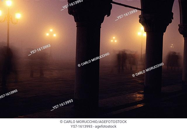 St. Mark's square in a foggy night in november, Venice, Italy, Europe