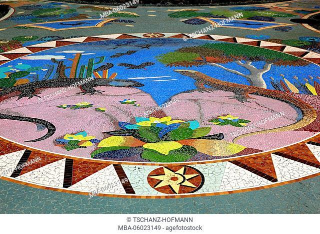 La Palma, Canary Island region Las Manchas, a featured from mosaics, plants and volcanic rocks square, Plaza La Glorieta, by the artist Luis Morera