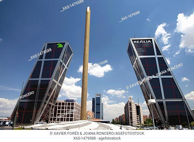 Kio Towers in Castilla square, Madrid, Spain