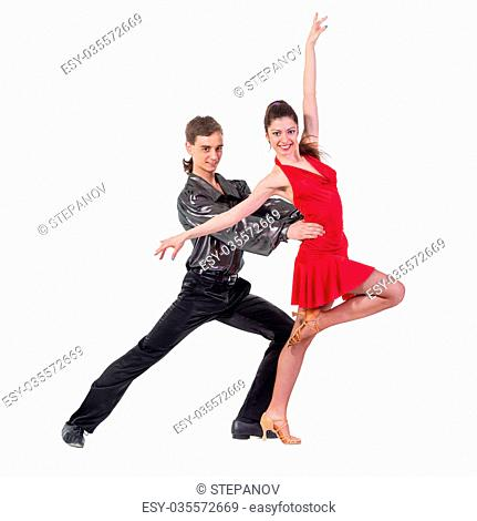 Full length of young ballet couple dancing against isolated white background