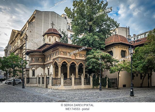 St. Michael and Gabriel church in the old town area in Bucuresti, Romania. . Stavropoleos Monastery in a gloomy summer morning