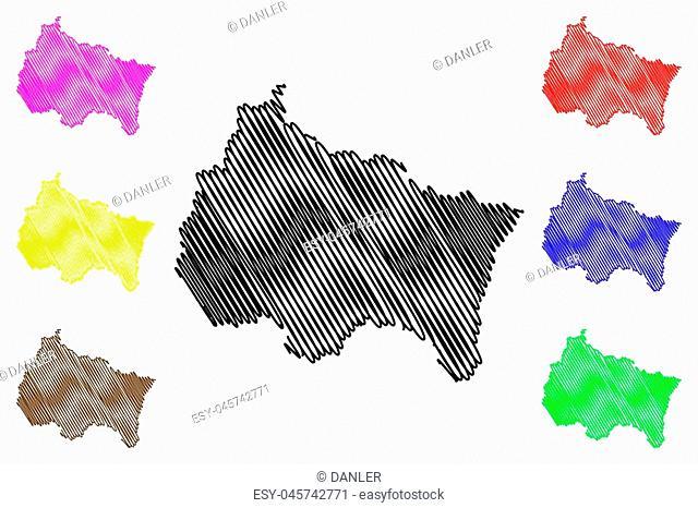 Grand Est (France, administrative region) map vector illustration, scribble sketch Alsace-Champagne-Ardenne-Lorraine (ACAL or ALCA) map