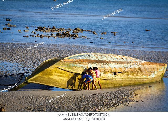 Children near a boat  Ton Sai village  Phi Phi Don island  Krabi province, Andaman Sea, Thailand