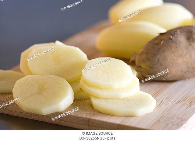Slices of raw potato