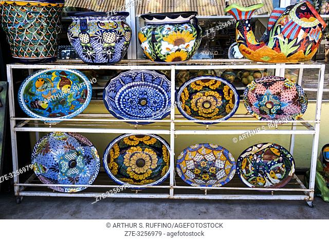 Colorful ceramics. Shopping for local crafts in downtown Loreto. UNESCO World Heritage Site. Loreto, Baja California Sur, Mexico