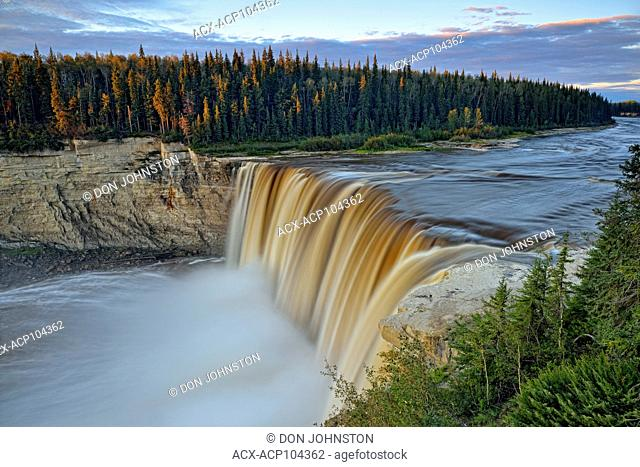 Alexandra Falls and the Hay River gorge at dawn, Twin Falls Territorial Park, Northwest Territories, Canada