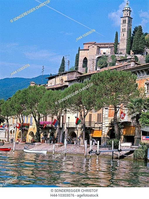 10303076, Switzerland, Europe, Ticino, Lago di Lugano, lake Lugano, lake, sea, Morcote, lake, sea, shore, promenade, houses, hom