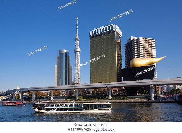 Japan, Asia, Tokyo, Asakusa, Sumidagawa, architecture, boat, city, colourful, district, river, sky tree, skyline, touristic, tower, travel