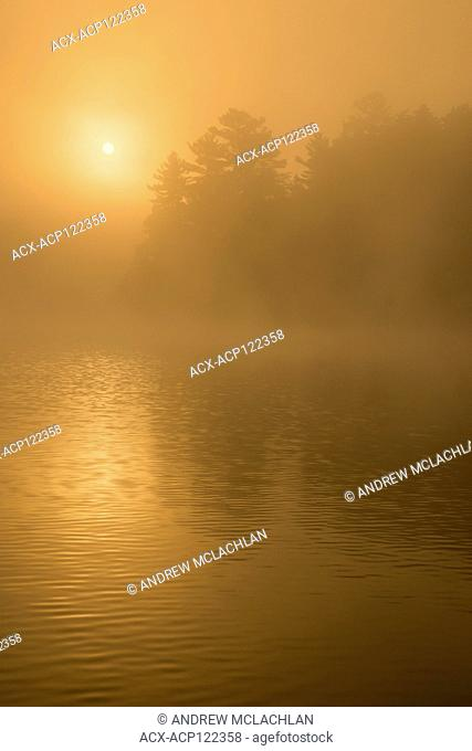 Misty sunrise over Horseshoe Lake in Muskoka near Parry Sound, Ontario, Canada
