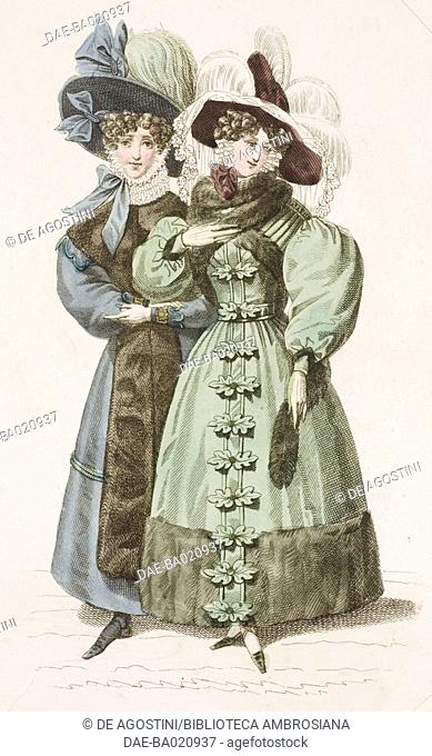 Woman wearing a green walking dress with puffed sleeves, fur stole and dark hat adorned with white hanging feathers, and woman wearing a blue walking dress with...