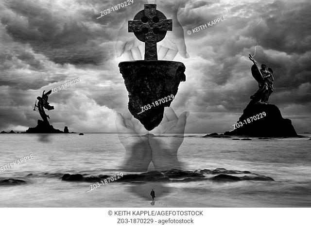 Photo surrealistic illustration representing a Christian theme, salvation, Jesus, and mankind