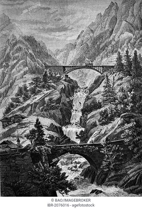 View of the Gotthardbahn railway line, bridge across the Rohrbach creek near Wattingen, Switzerland, wood engraving, 1880