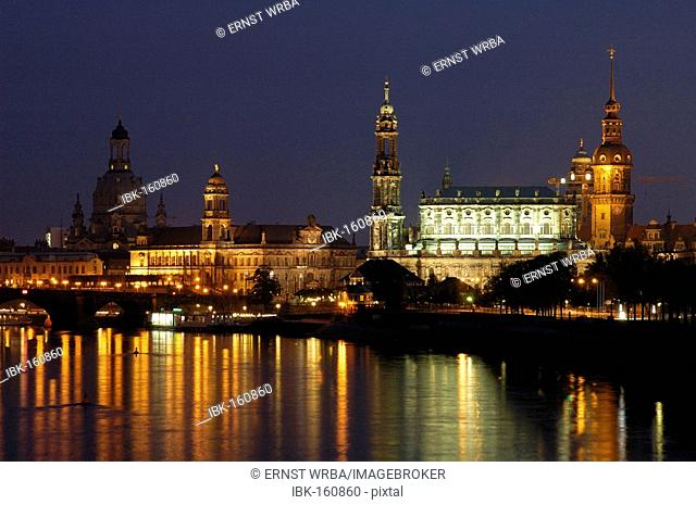 River Elbe picturesque old town historical buildings at twilight Dresden Saxony Germany