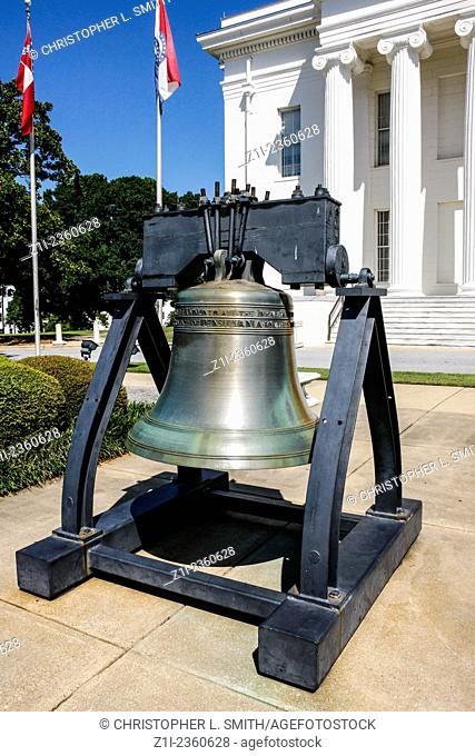 A copy of the Liberty Bell outside the Alabama State Capitol building in Montgomery