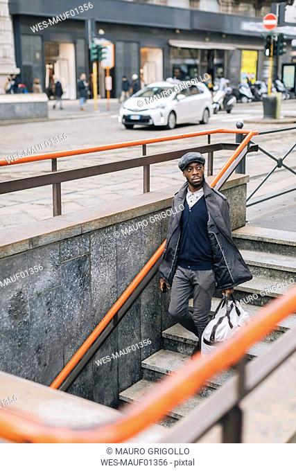 Stylish man in the city on the go
