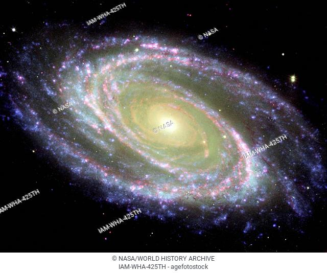 The spiral galaxy known as Messier 81, or M81. GALEX Orbiter,Hubble Space Telescope,Spitzer Space Telescope