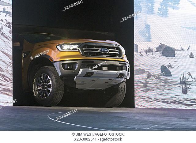 Detroit, Michigan - The new 2019 Ford Ranger FX4 arrives at the North American International Auto Show