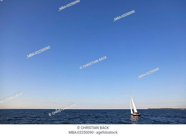 Sailing boat in front of Travemünde near Lübeck, Schleswig - Holstein, North Germany, Germany