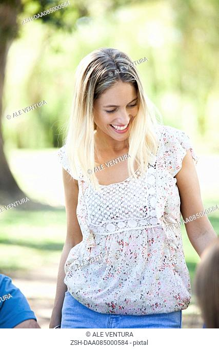 Woman chatting with friends