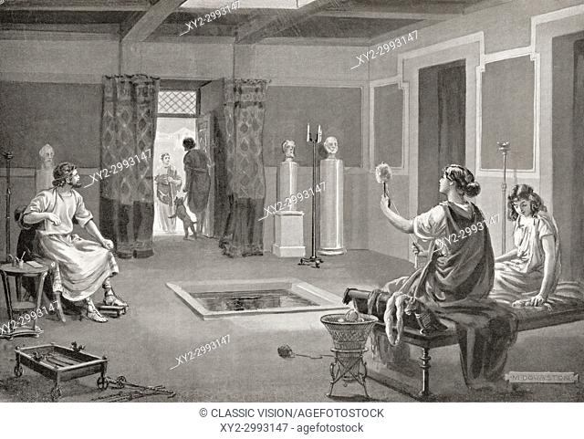 The interior of a Roman house, 3rd century BC. After the painting by Margaret Dovaston, (1884-1954). From Hutchinson's History of the Nations, published 1915