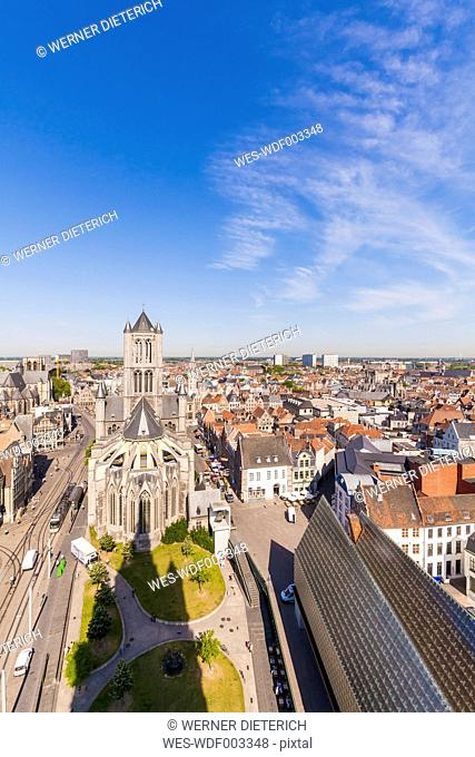 Belgium, Ghent, old town, cityscape with St. Nicholas Church