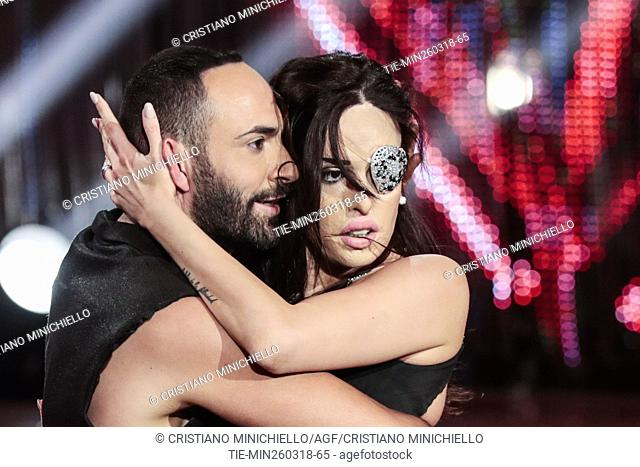 Gessica Notaro with theache dancer Stefano Oradei during the tv show Dancing with the stars, Rome, ITALY-24-03-2018