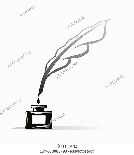 illustration of an inkwell with goose feather