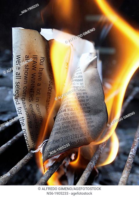 Document on fire