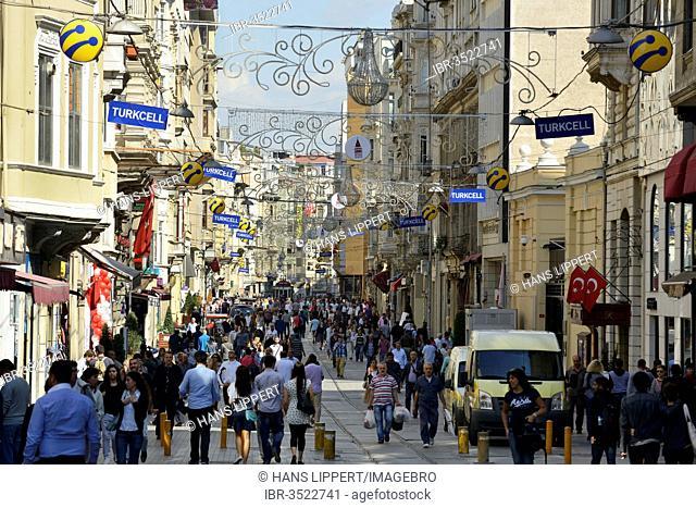 Shopping street of Istiklal Caddesi or Istiklal Street