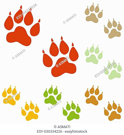 Animal Tracks sign. Colorful autumn set of icons