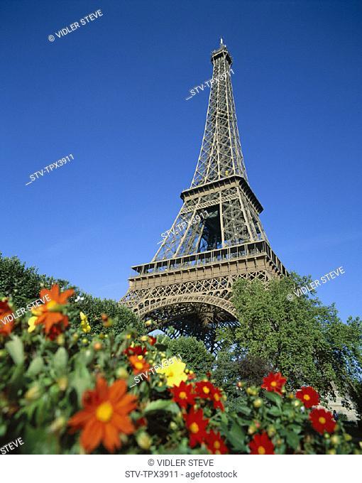 Eiffel, Eiffel tower, Flowers, France, Europe, Holiday, Landmark, Paris, Spring, Tour, Tourism, Travel, Vacation