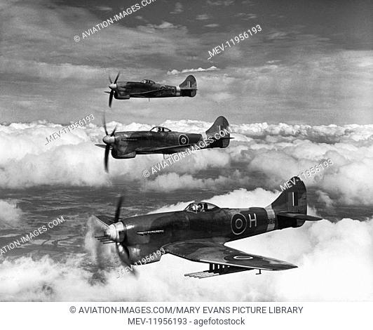RAF Royal Airforce Central Fighter Establishment West Raynham Hawker Tempest Mk-5S flying in formation During WW2 with Rocket-Rails