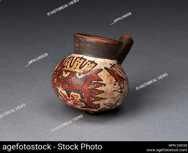 Miniature Jar with a Single Spout Depicting an Abstract Figure - 180 B.C./A.D. 500 - Nazca South coast, Peru - Artist: Nazca, Origin: Nazca Valley
