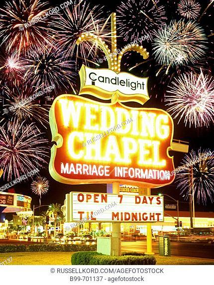 Neon Sign Wedding, Chapel , The Strip, Las Vegas, Nevada, USA