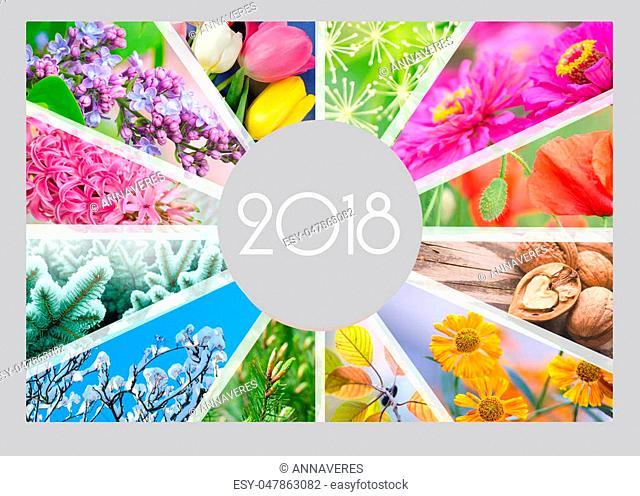 Seasonal Calendar for 2018 year. Creative collage. Quarterly calendar of accountant