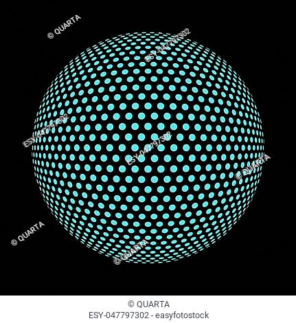 Abstract round 3d bright blue sphere consisting of dots in form of halftone. Scientific and technical frame illustration. Flat cartoon illustration