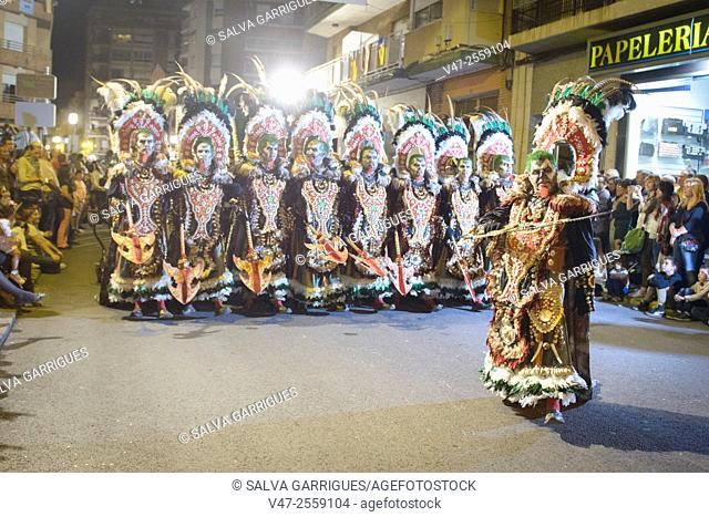 African warriors African ancestral costumes dancing in the street parades, Cacaixent, Comunidad Valenciana, Valencia, Spain, Europe