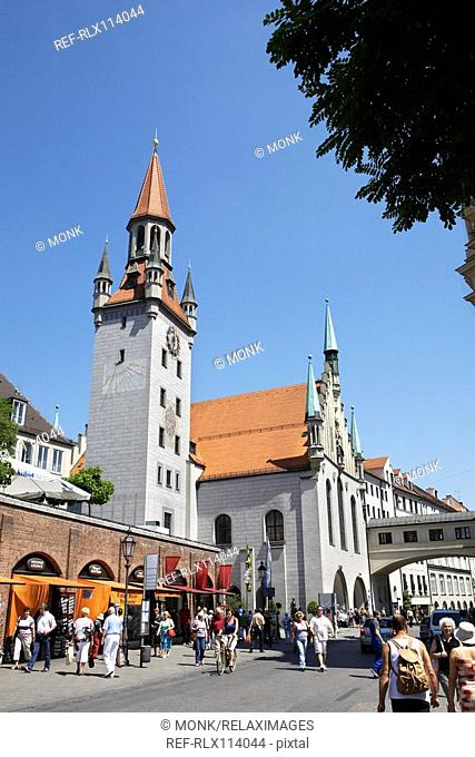 Viktualienmarkt and old town hall background Munich, Germany