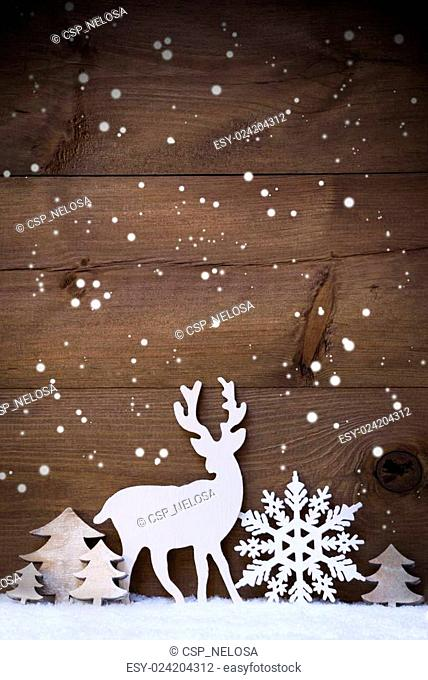 Vertical White Christmas Card With Copy Space On Snow, Snowflake